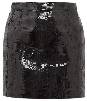Saint Laurent Sequinned Mini Skirt - Womens - Black