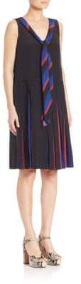 Marc Jacobs Pleated V-Neck Dress With Tie