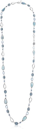 Anne Klein Women's Silver Tone and Blue 42-Inch Strand Necklace