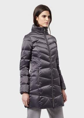 Emporio Armani Ea7 Long Down Jacket With Full Zip And Removable Hood