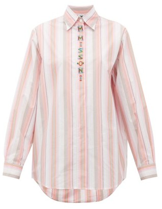 M Missoni Logo-embroidered Striped Poplin Shirt - Womens - Pink White