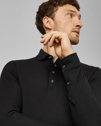 Ted Baker KRISPIE Long sleeved textured cotton polo shirt