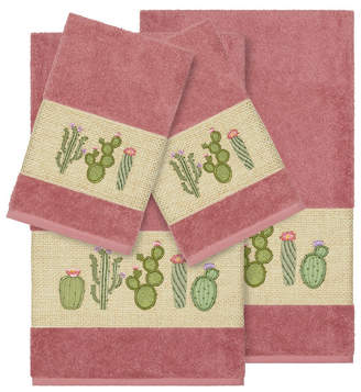 Linum Home Mila 4-Pc. Embroidered Turkish Cotton Bath and Hand Towel Set Bedding