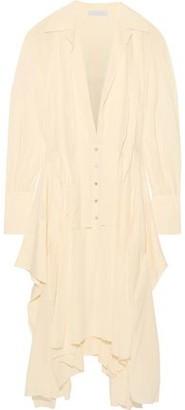 Chloé Asymmetric Pleated Silk-chiffon Shirt Dress