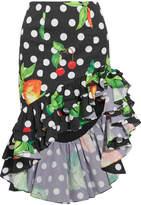 Caroline Constas Printed Cotton-blend Poplin Skirt - Black