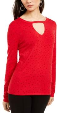 INC International Concepts Inc Petite Studded Keyhole-Neck Sweater, Created For Macy's