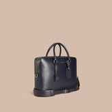 Burberry Large London Leather Briefcase, Blue