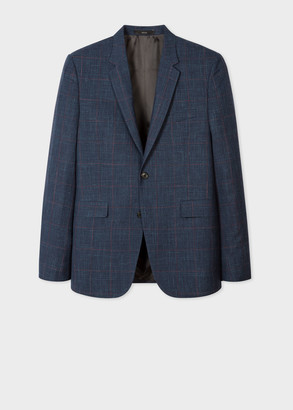 Paul Smith Men's Slim-Fit Navy And Red Check Loro Piana Wool And Silk-Blend Blazer