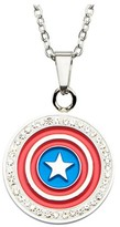 """Marvel Women's Captain America Shield Stainless Steel Pendant with Chain and Clear CZ (18"""")"""