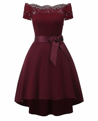BAIHUODRESS Women Lace Scallop Bardot Dip Hem Vintage Pinup Elegant Dress