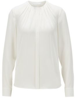 HUGO BOSS Silk Blend Blouse With Gathered Neckline - White