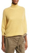 Brunello Cucinelli Mohair-Wool 3/4-Sleeve Turtleneck Sweater, Yellow