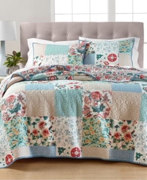 Martha Stewart Collection Country Flora Patchwork Reversible Twin/Twin Xl Quilt, Created for Macy's