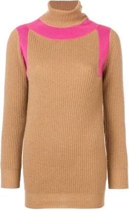 Victoria Beckham Contrast Panel Roll Neck Jumper