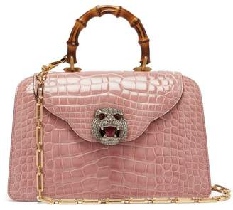 Gucci Thiara Bamboo Handle Crocodile Leather Bag - Womens - Light Pink