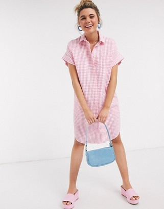 Monki Wanna organic cotton oversized gingham print shirt dress in pink