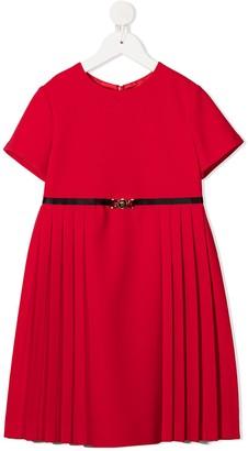 Versace Short Sleeve Pleated Skirt Dress