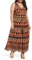 London Times Plus Size Women's Bubble Print Maxi Dress