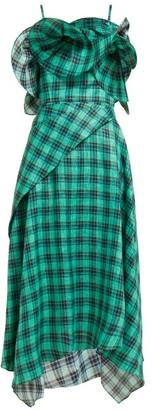 Osman Julie Check-print Ruffle-bodice Linen Midi Dress - Green Multi