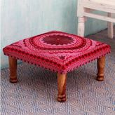 Novica Ruby Mandala Sheesham Wood with Multicolor Embroidery in Shades of Red Pink Square Upholstered Foot Stool Ottoman (India)