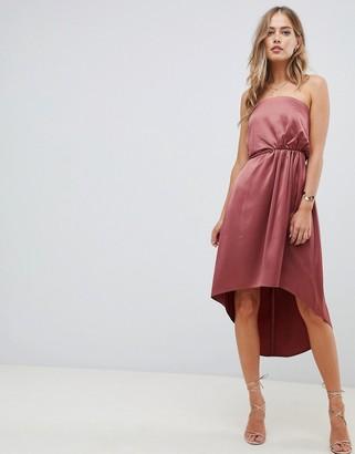 Asos Design DESIGN midi bandeau satin dress with knot back detail-Pink