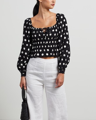 Faithfull The Brand Women's Black Cropped tops - Varena Top - Size S at The Iconic