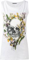 Alexander McQueen floral skull tank top - women - Cotton - 42