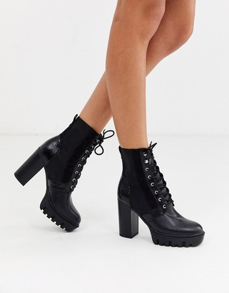 Miss Selfridge heeled hiker boots with lace up in black