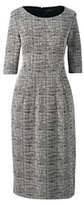 Classic Women's Petite Elbow Sleeve Ponté Sheath Dress-Black/Burgundy Texture