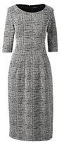 Lands' End Women's Elbow Sleeve Ponte Sheath Dress-Stone