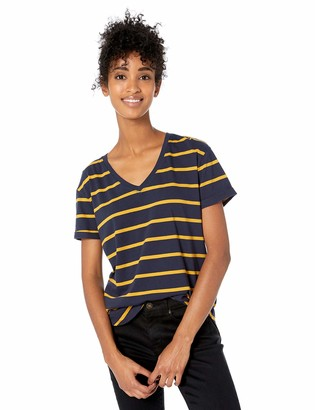Goodthreads Amazon Brand Women's Washed Jersey Cotton Roll-Sleeve V-Neck T-Shirt