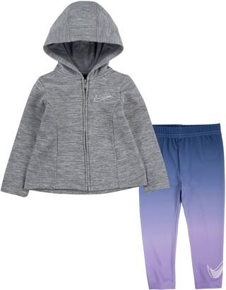 Nike Girls 4-6x Therma Fleece Jacket & Dri-FIT Leggings Set