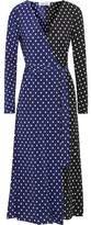 Diane von Furstenberg Two-Tone Polka-Dot Silk Wrap Midi Dress
