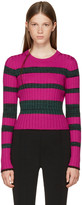 Proenza Schouler Pink & Green Striped Crewneck Pullover