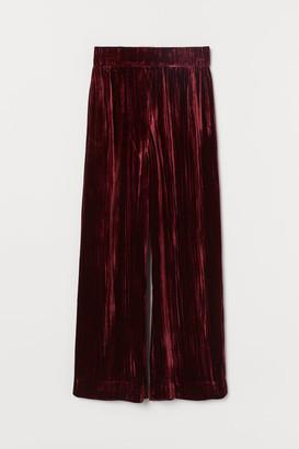 H&M Silk-blend Velvet Pants - Red