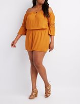 Charlotte Russe Plus Size Crochet-Trim Off-The-Shoulder Romper