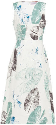 Carolina Herrera Flared Printed Stretch-cotton Midi Dress