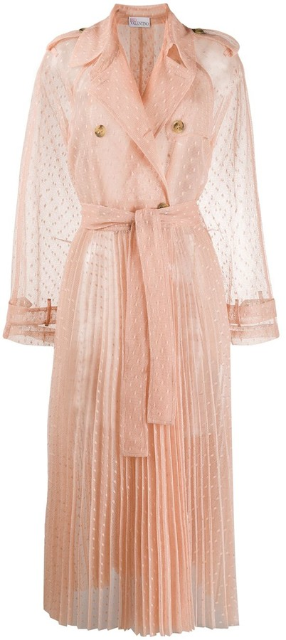 Thumbnail for your product : RED Valentino Tulle Sheer Trench Coat
