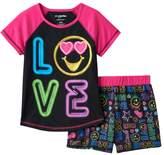 """Girls 4-12 Emoji """"Love"""" Pajama Set"""