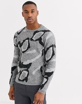 Jack and Jones wool sweater in gray leopard print