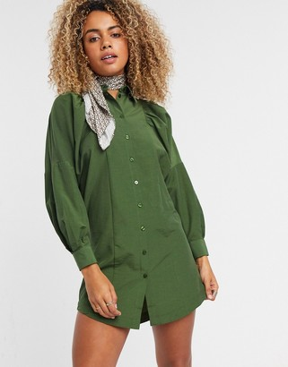Topshop textured mini shirt dress in khaki