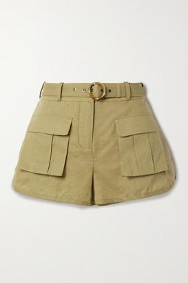 Zimmermann Brighton Belted Linen And Cotton-blend Shorts - Sand