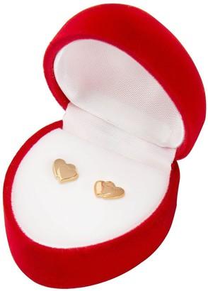 Love Gold 9 Carat Gold Heart on Heart Earrings in Red Heart Box