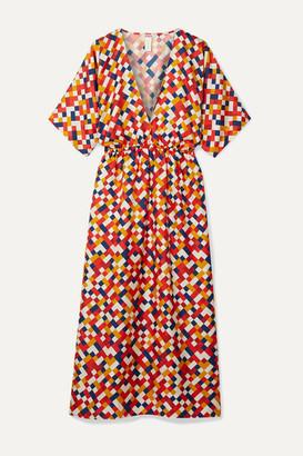 Eres Mosaic Spritz Printed Silk-twill Midi Dress - Brick