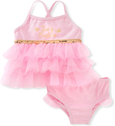 Juicy Couture Pink & Gold Ruffle Tankini Top & Bottoms - Infant Toddler & Girls