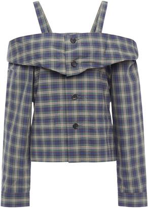 Ambush Cold-shoulder Checked Cotton-poplin Top