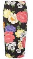 Dorothy Perkins Womens **Tall Black Floral Pencil Skirt- Black