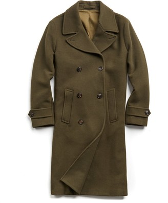 Todd Snyder Italian Wool Double Breasted Officer Topcoat in Olive