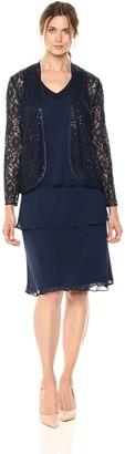 SL Fashions Women's Sequined Lace Jacket Dress