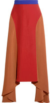 Roksanda Askel Asymmetric Color-block Crepe Skirt